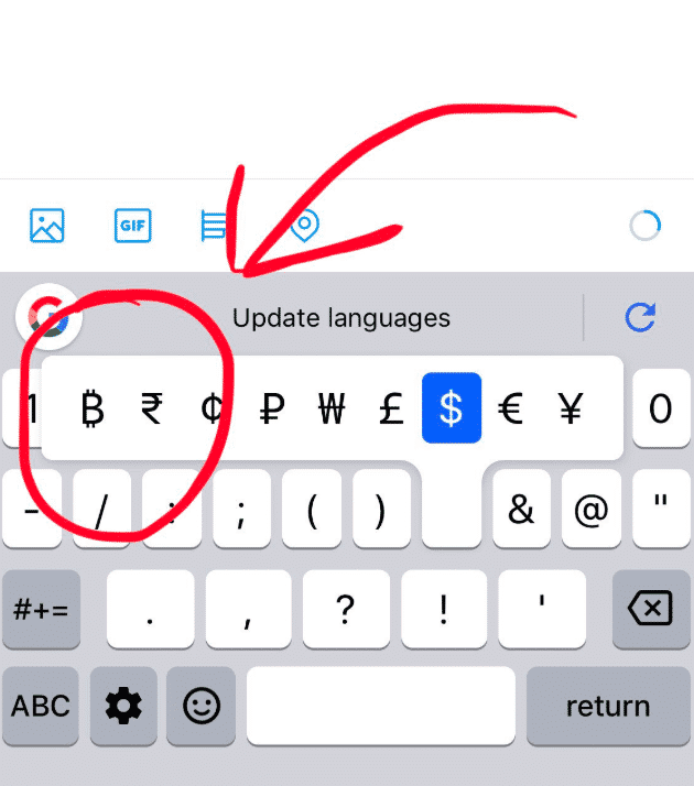 Google added a bitcoin symbol to the keyboard for iPhone